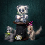 Artistic compositions with knitted animals. Kittens stock image
