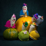 Artistic compositions with knitted animals. Snails stock photo