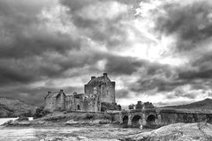 Artistic conversion of the Eilean Donan castle in Scottish highl Stock Image