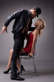 Artistic couple of dancers posing in studio Stock Image