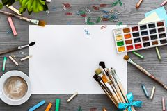 Artistic creative background art work supplies and mockup blank paper, flat lay stock photos