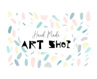 Artistic creative hand drawn header, label or poster of craft hand made art shop. Abstract background with brush paint. Strokes and worn textures Royalty Free Stock Images