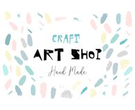 Artistic creative hand drawn header, label or poster of craft hand made art shop. Abstract background with brush paint. Strokes and worn textures Stock Photos