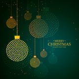 Artistic creative hanging christmas balls made with dots stock illustration