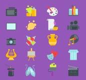 Artistic creator graphic designer icons vector set flat design illustration. Camera, picture, brush palette. Artistic graphic creator designer icons vector set royalty free illustration
