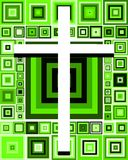 Artistic Cross on colorful background with squares Royalty Free Stock Photography