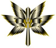 Artistic Cross with wings and peace symbol isolated Royalty Free Stock Photography