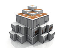 Artistic cube arrangement. 3-D illustration of an artistic cube arrangement or display Stock Image