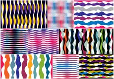 Artistic curve lines seamless patterns set, abstract colorful ve. Ctor backgrounds collection. Usable for fabric, wallpaper, wrapping, web and print. Horizontal Stock Illustration