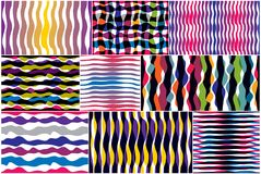 Artistic curve lines seamless patterns set, abstract colorful ve. Ctor backgrounds collection. Usable for fabric, wallpaper, wrapping, web and print. Horizontal Royalty Free Illustration