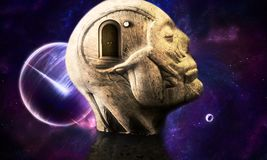 Artistic 3d Illustration Of A Smooth Galactic Abstract Human Head Structure With A Closed Door that Leads To Another Dimension. Abstract artistic human head stock illustration