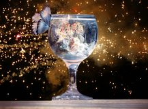 Artistic 3d rendering illustration of a butterfly on a cup of water in a unique artwork. Artistic illustration of a butterfly flying towards a cup of alcohol stock photos