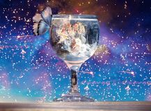 Artistic 3d rendering illustration of a butterfly on a cup of water in a unique sparkly background. Abstract artistic illustration of a butterfly flying towards royalty free illustration