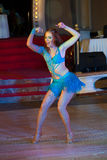 Artistic Dance Awards 2014-2015. MOSCOW - OCTOBER 18: Unidentified female teens age 14-17 compete in latino dance on the Artistic Dance Awards 2014-2015 stock images