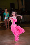 Artistic Dance Awards 2014-2015. MOSCOW - OCTOBER 18: Unidentified female teens age 14-17 compete in latino dance on the Artistic Dance Awards 2014-2015 royalty free stock image