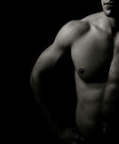 Artistic dark portrait of one muscular man royalty free stock photography