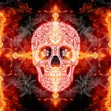 Abstract artistic glorifying religious flammable energetic cross skull artwork as a unique background. Artistic death skull with flower icon eyes on a cross in a vector illustration