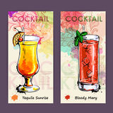 Artistic decorative cocktail menu. Royalty Free Stock Image