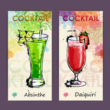 Artistic decorative cocktail menu. Royalty Free Stock Images