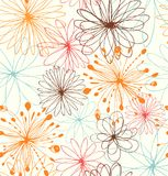 Artistic decorative drawn background with round fantasy shapes, flowers. Vector abstract pattern. Artistic decorative drawn background with round fantasy shapes Stock Photography