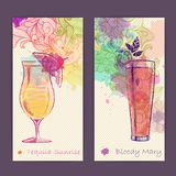 Artistic decorative watercolor cocktail poster Stock Photo