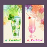 Artistic decorative watercolor cocktail poster Stock Photos