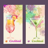 Artistic decorative watercolor cocktail poster Stock Images