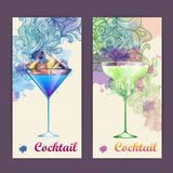 Artistic decorative watercolor cocktail poster Stock Photography