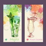 Artistic decorative watercolor cocktail poster Royalty Free Stock Photography