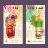 Artistic decorative watercolor cocktail poster. Stock Image
