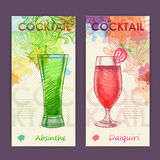 Artistic decorative watercolor cocktail poster. Royalty Free Stock Image