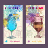 Artistic decorative watercolor cocktail poster. Stock Photography