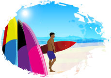 Artistic designed background with surfer. Royalty Free Stock Photography