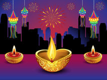 Artistic detailed diwali night background. Vector illustration Royalty Free Stock Images