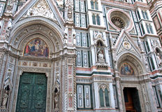 Artistic details of facade of the Cattedrale di Santa Maria del Fiore in Florence, Italy Royalty Free Stock Photography