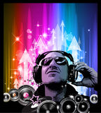 Artistic Disco Flyer with DJ shape Royalty Free Stock Photos