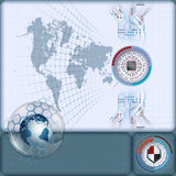 Artistic distorted world map and grid with processor in futuristic graduated device on electronic circuits Royalty Free Stock Images
