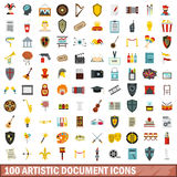 100 artistic document icons set, flat style. 100 artistic document icons set in flat style for any design vector illustration Stock Image