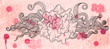 Artistic doodle vector background in rosy colors Stock Photos