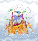 Dragon and the castle in the clouds. Artistic  drawing  of castle in the sky and dragon Stock Photos