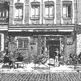 Artistic drawing of a french street cafe Stock Image