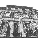 Artistic drawing of an old building with open shut Stock Images