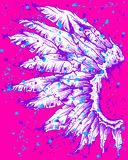 Artistic Drawing of Purple Wing on Pink Royalty Free Stock Images