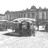Artistic drawing of a sunday market on old city sq Royalty Free Stock Photography