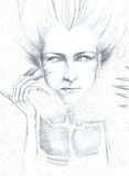Artistic drawing of a woman. Imaginary hand-drawn portrait of a woman Stock Image