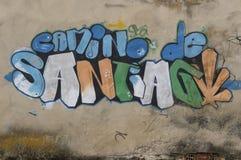 Artistic drawings on the wall of Camino de Santiago, Belorado Stock Photography