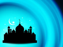 Artistic eid background design with mosque. Royalty Free Stock Images