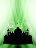 Artistic eid background design with mosque. Royalty Free Stock Photo