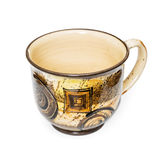 Artistic empty cup with handle for coffee or tea on the white ba Stock Photos