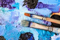 Artistic equipment. Brushes and paints for drawing. Items for children`s creativity. Artistic equipment. Brushes and paints for drawing. Items for children`s stock image
